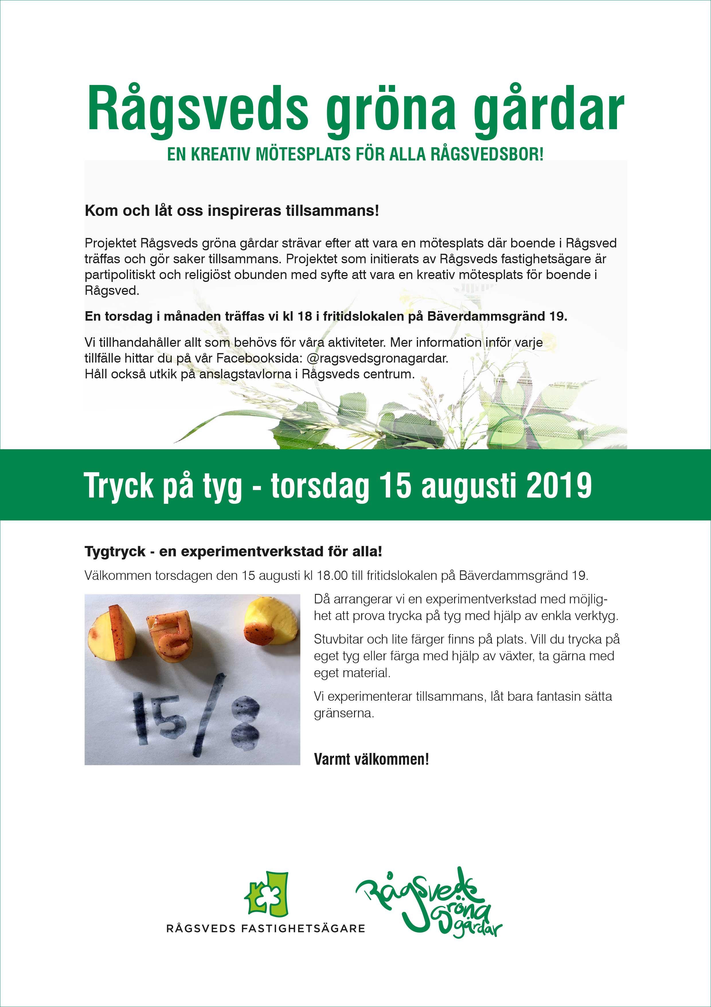 Rågsveds Gröna Gårdar: Tryck på tyg 15 augusti 2019