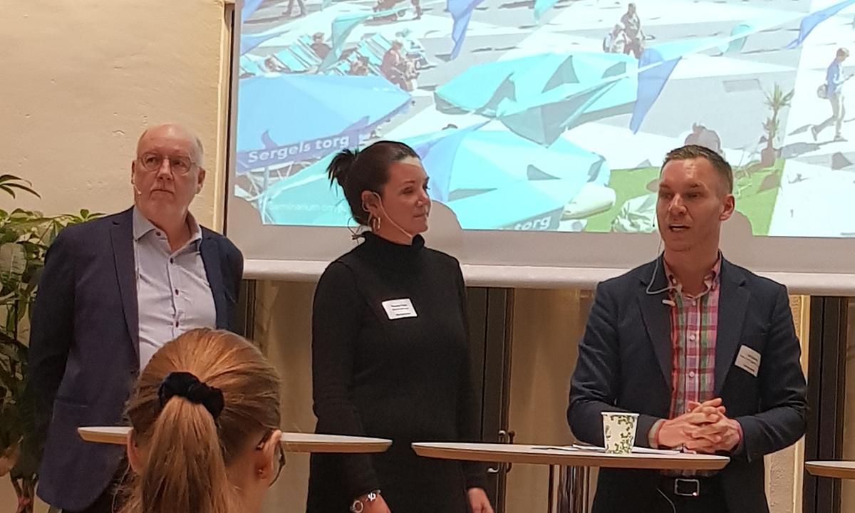 Per Eriksson, Senior Advisor, City i Samverkan, Therese Travis, Biträdande enhetschef, Socialförvaltningen och Erik Slottner, Äldre- och trygghetsborgarråd, KD