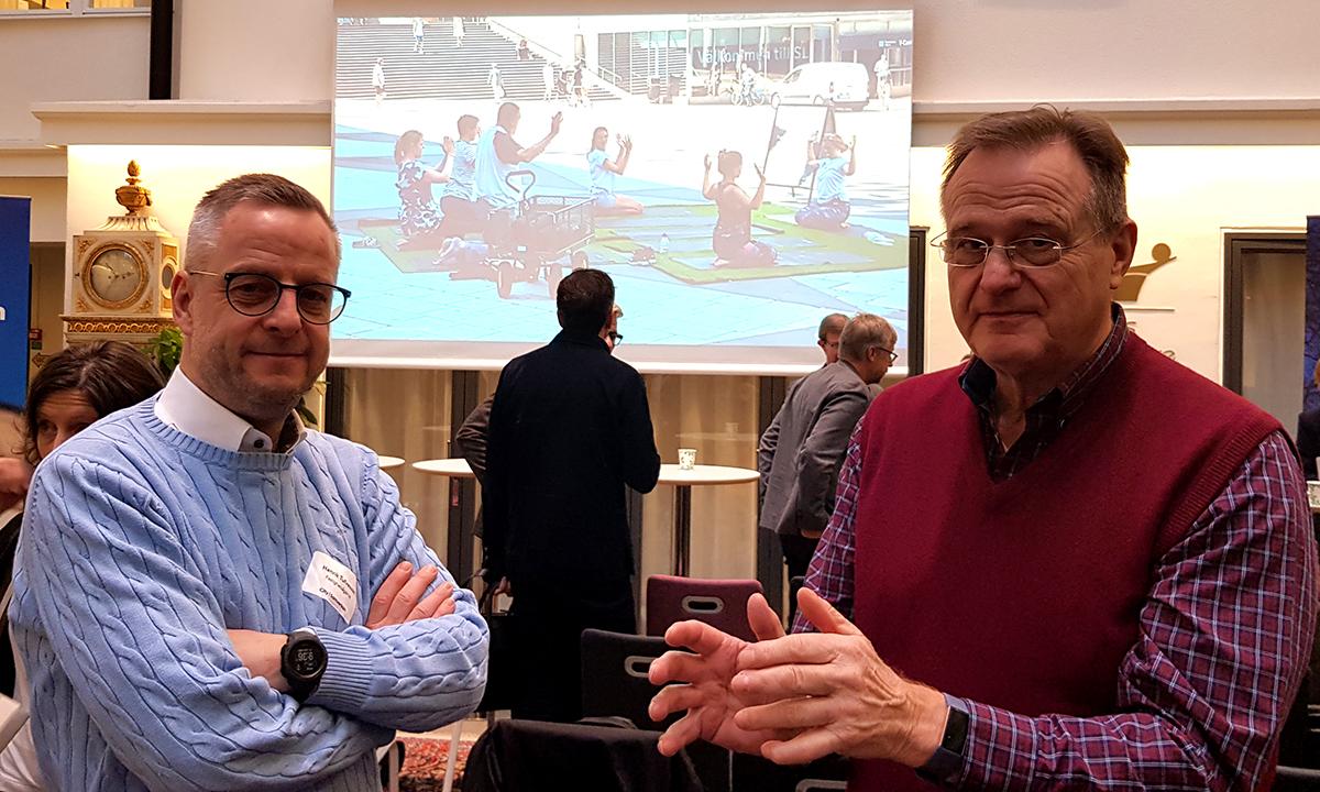 Henrik Tufvesson, Fastighetsägarna Stockholm och Sonny Söderström, VD Skärholmens Fastighetsägare på City i Samverkans seminarium om platssamverkan