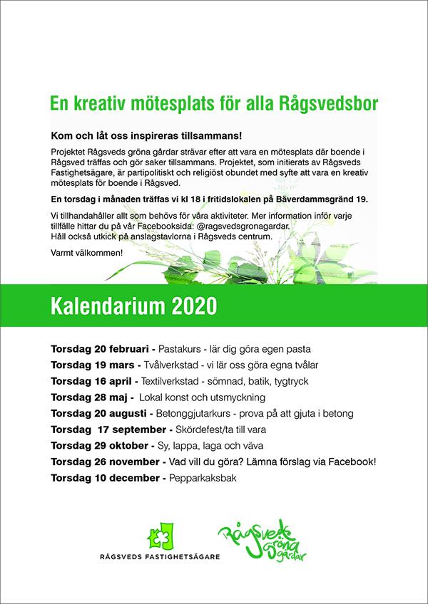 Kalendarium Gröna Gårdar 2020