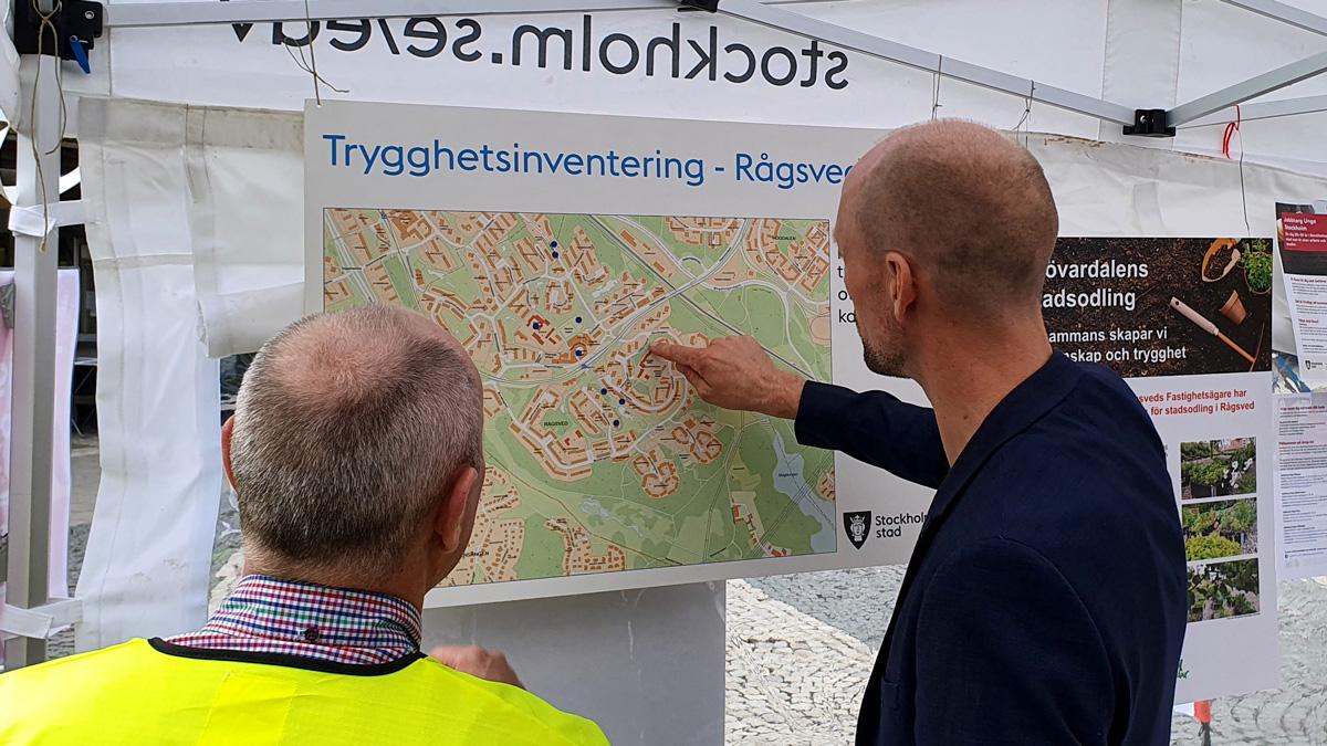 Även i år fick boende precis markera platser på en karta där de kände sig otrygga i Rågsved.