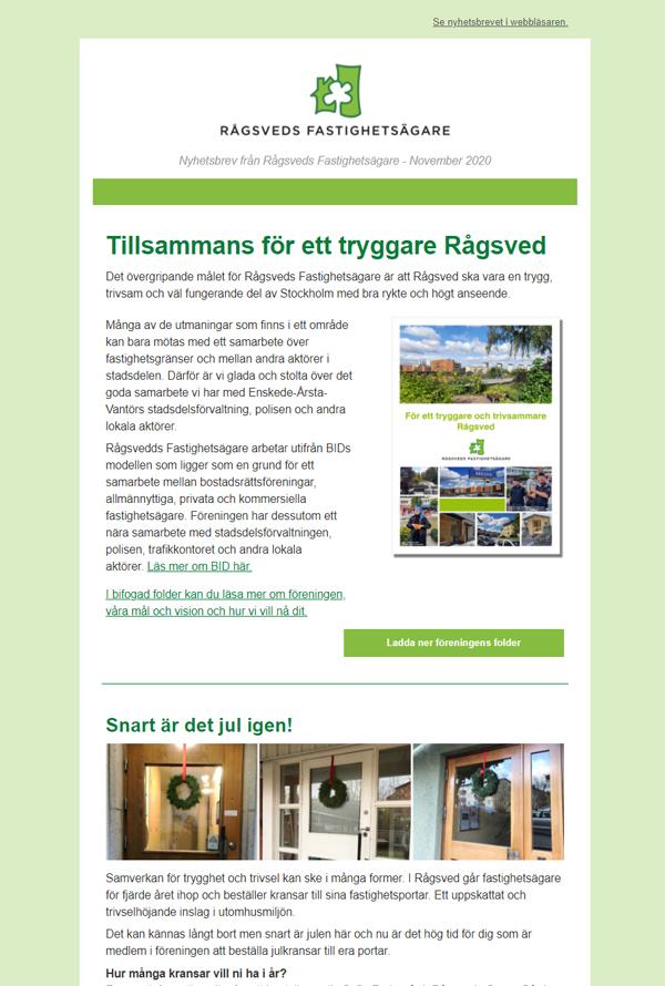 Nyhetsbrev från Rågsveds Fastighgetsägare